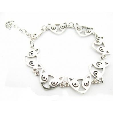 Zilveren armband met Maori Kattenkoppen
