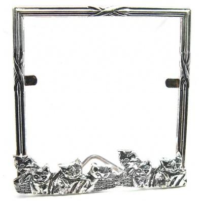 Vierkante fotolijst van zilver met spelende katjes