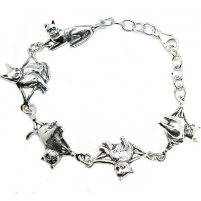 Zilveren 5 poezen armband