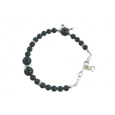 Onyx armband met zilveren katje