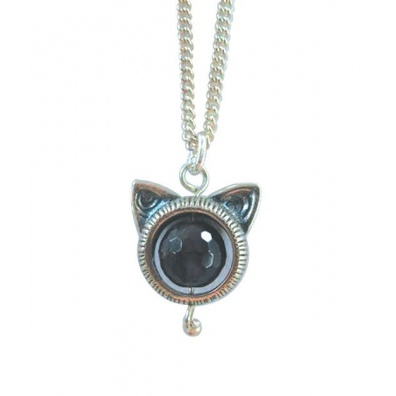 Zilveren kattekop met Amethist